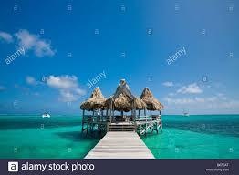 ambergris caye belize san pedro coral beach dive shop stock photo