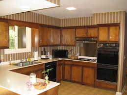 Floating Cabinets Kitchen U Shape Brown Wooden Kitchen Island With White Counter Top And