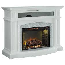 Electric Fireplace With Mantel Shop Living 52 5 In W 5100 Btu White Wood Corner Or Flat