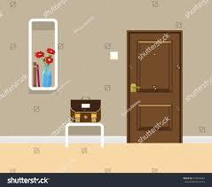 Bookshelves On The Wall Colored Flat Vector Design Entrance Door Stock Vector 673052464