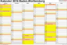 Baden Wuttemberg Kalender 2016 Baden Württemberg Ferien Feiertage Excel Vorlagen