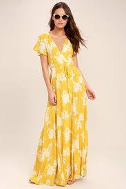 floral maxi dress yellow white floral wrap maxi dress sujeiry