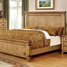 Country Bed Frame Pioneer Country Style Weathered Elm Finish Bed Frame Set