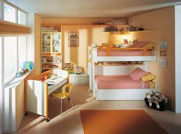 awesome bedroom for kids with bunk bed orange walll paint pink bed