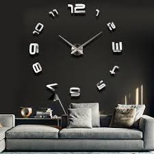 Large Home Decor 3d Large Sliver Modern Diy Home Decor Mirror Wall Clock Sticker At