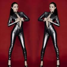 leather jumpsuit s zipped open crotch patent leather jumpsuit black l