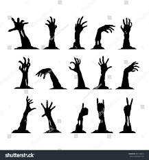 halloween silhouette clipart set silhouettes zombie hands collection halloween stock vector