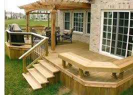 Wood Patio Deck Designs Simple Deck Design Privacy Wall To One End Of Your Deck Small