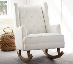 Nursery Rocking Chairs With Ottoman Modern Tufted Wingback Convertible Rocker Pottery Barn