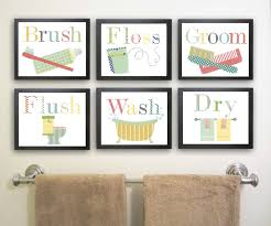 cheerful bathroom themed using wall typography artwork picture
