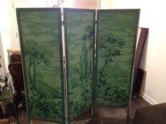 vintage hand painted tri fold room divider dressing screen