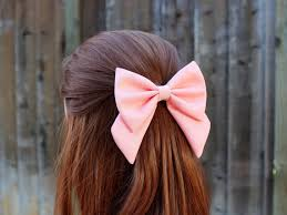 hair bow 4 5 pink hair bow fabric hair bow with tails big hair bow