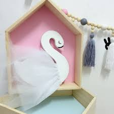 nordic style wooden chiffon swan modeling baby stroller pendant