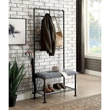 furniture of america revo industrial sand black 34 inch coat rack