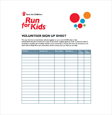 sign up for volunteer sheet template for your event or program