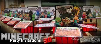 minecraft 3d box birthday party invitations custom handmade