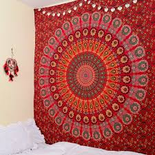 tapestry home decor cilected red peacock mandala tapestry home decor wall hanging
