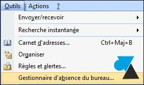 message d absence du bureau outlook mettre un message d absence pour les vacances