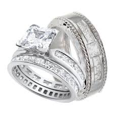 his and hers engagement rings sets him and wedding rings set sterling silver wedding bands his