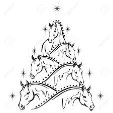horse lovers christmas tree sport horses royalty free cliparts