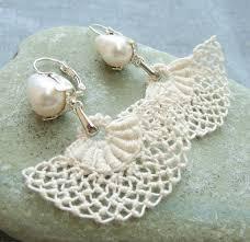 antoinette earrings needle lace earrings bridal pearl earrings antoinette style