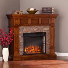 Corner Electric Fireplace Amesbury 45 75 In W Faux Stone Corner Electric Fireplace In