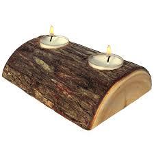 half log candle holder candle centerpieces log centerpiece