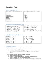 multiplying dividing exponents worksheets standard form worksheet by dannypeaker teaching resources tes