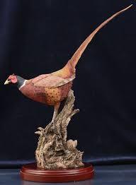 pheasant sculpture painted presentation figurine sculpture