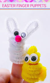 fuzzy easter easter crafts for preschoolers diy bunny and finger puppets