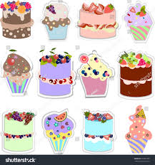 set sweets different types cakes muffins stock vector 570237583