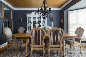 gold leaf ceiling dining room traditional with gray dining rooms