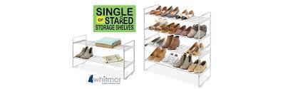 Closet Shoe Organizer by Amazon Com Whitmor Stackable Closet Shelves Chrome Home U0026 Kitchen
