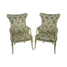 vintage hollywood regency floral accent chairs a pair chairish