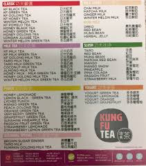 Dulles Town Center Map Menu At Kung Fu Tea Dulles Town Center Yelp