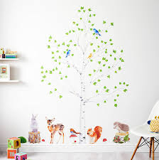 Nursery Tree Stickers For Walls Childrens Wall Decals Tree Cute Cartoon Animals Tree Bridge Baby