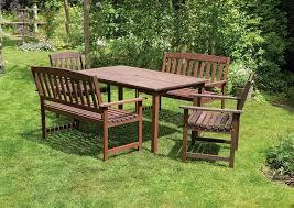 Patio Furniture Sets Uk - 6 seater wooden garden dining set 5 piece 2 x 2 seater garden