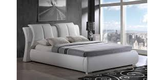 W Leather White Platform Bed Global Furniture - Modern white leather bedroom set