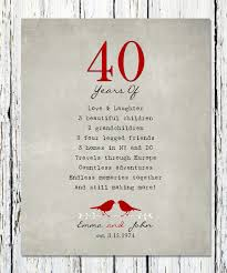 40 year anniversary gift ideas 40th anniversary gift for parents 40th ruby anniversary