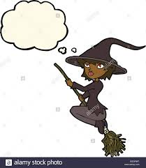 cartoon witch riding broomstick with thought bubble stock vector