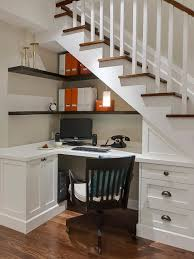 breathtaking hidden under stairs storage taking comfy home office breathtaking hidden under stairs storage taking comfy home office spot with l shaped top table and wall mounted shelves also drawers and cabinets files
