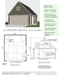 Shop Plans And Designs Economy 2 Car Garage With Attic Plan E480 3 By Behm Design