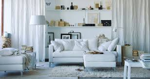 white as a neutral color schemes for living room with white sofa