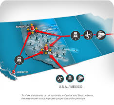 Calgary Alberta Canada Map by Hi Way 9 Streamline Logistics Coverage Alberta Canada