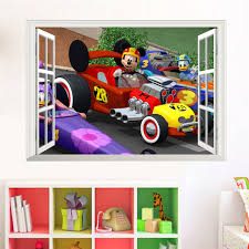 Mickey Mouse Driving Racing Car 3d Window Wall Stickers Kids Room