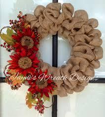 fall burlap wreath with sunflowers diy pinterest burlap