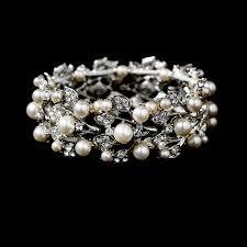 silver rhinestone bracelet images Silver ivory vintage stretch pearl rhinestone bracelet b 969