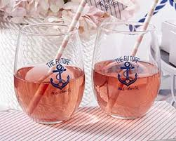 personalized favors personalized stemless wine glass nautical bridal shower