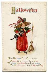 antique halloween image little witch with cat the