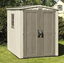 keter factor outdoor plastic garden storage shed 6 x 6 feet